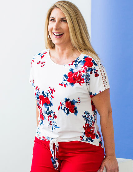 White Floral Crochet Sleeve Top, White/Red/Blue, hi-res