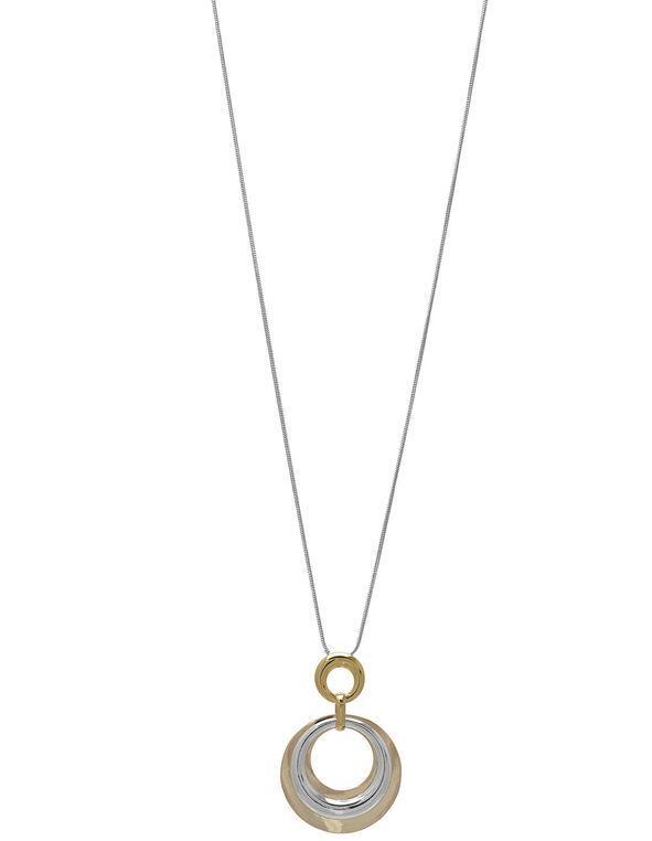 Gold Circular Pendant Long Necklace, Gold/Silver, hi-res