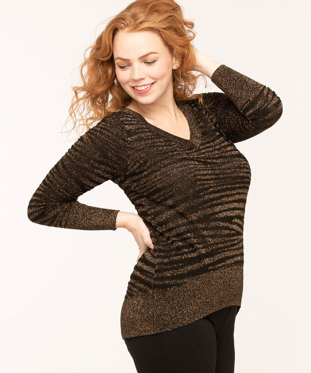 Black & Gold Metallic Sweater, Black/Gold, hi-res