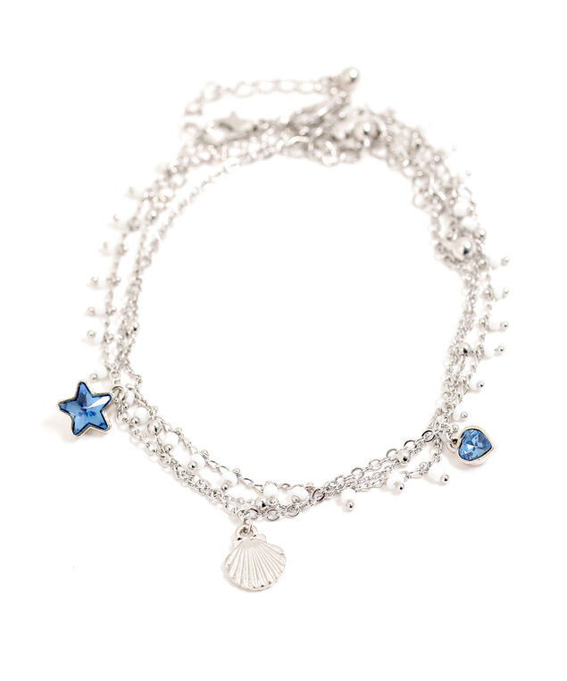 Silver Layered Seashell Anklet, Silver