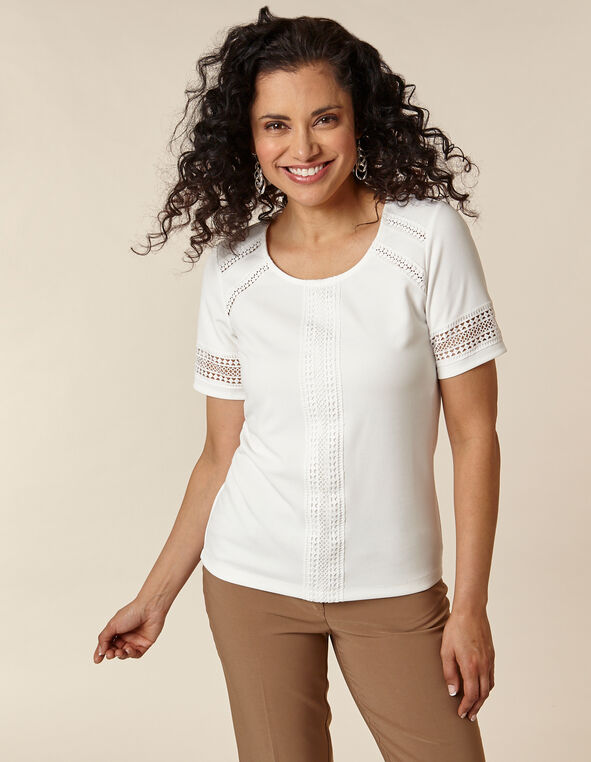 Ivory Crochet Crepe Top, Ivory, hi-res