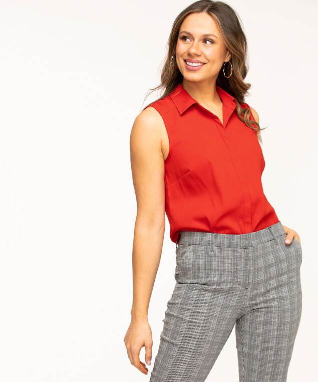 Sleeveless Collared Button Front Blouse, Red