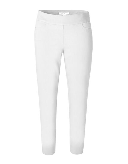 White Ankle Pull On Pant, White, hi-res
