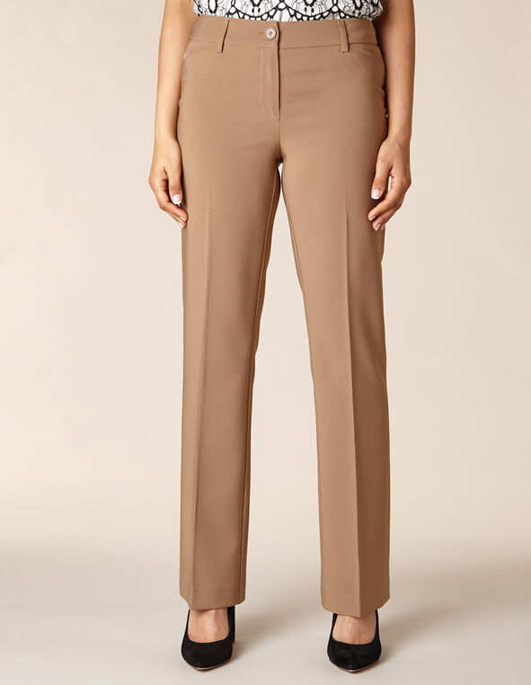 Toffee Solid Trouser Pant, Toffee/Brown, hi-res