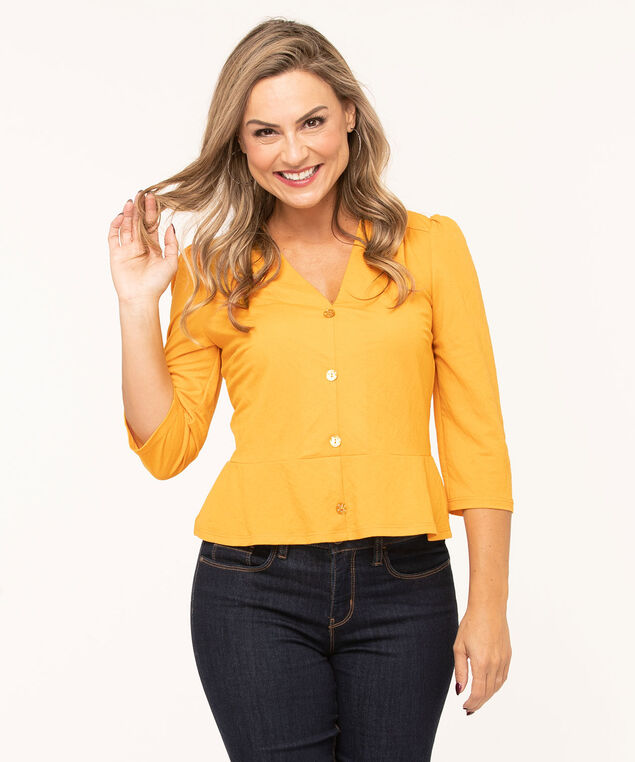 Gold Popover Peplum Top, Gold, hi-res