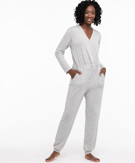 French Terry Jumpsuit, Light Grey, hi-res