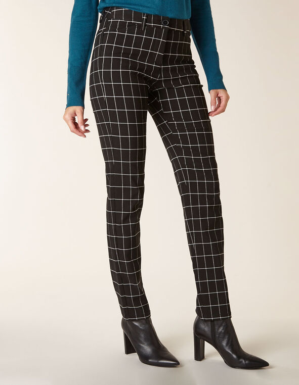 Black Plaid Butt Lift Slim Pant, Black, hi-res