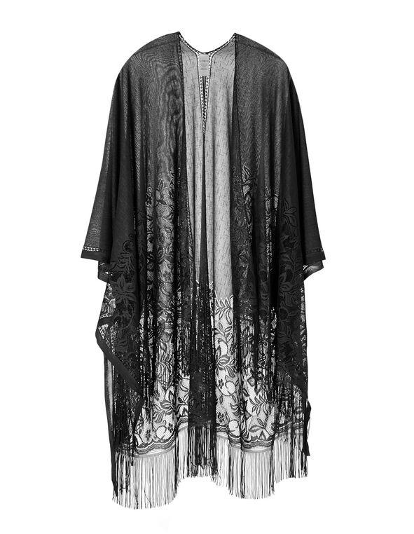 Black Lace Kimono, Black, hi-res