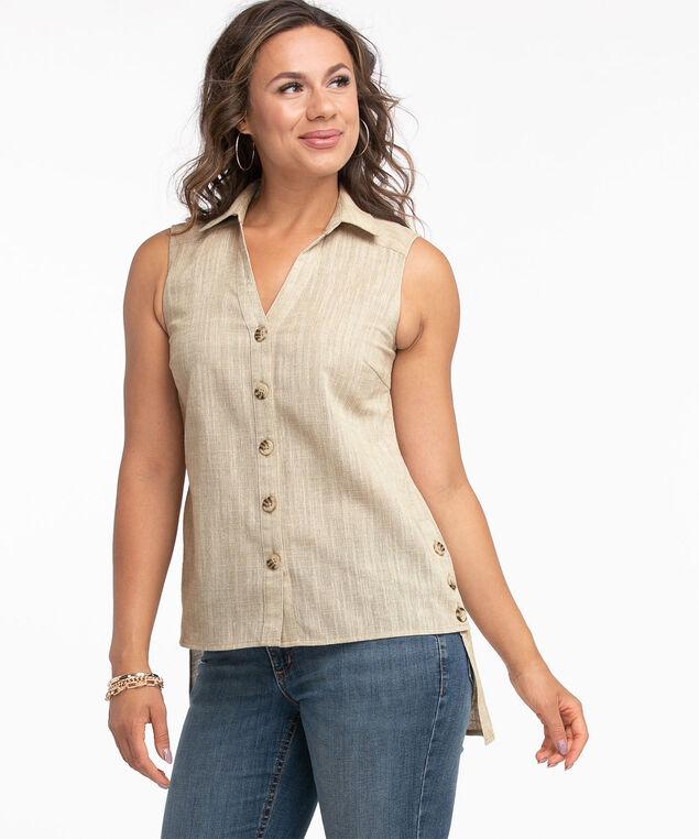 Sleeveless Button Front Tunic Blouse, Stone Mix