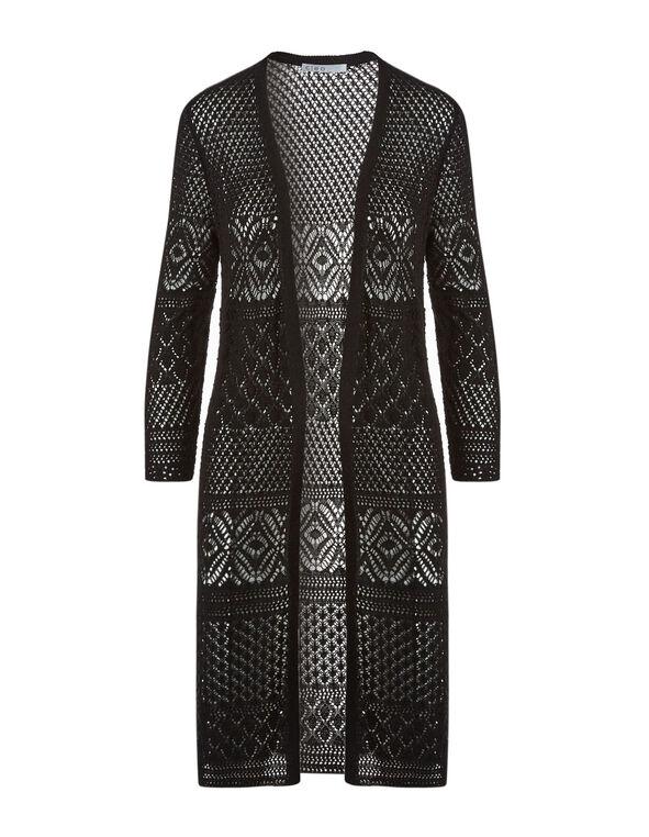 Black Long Crochet Cardigan, Black, hi-res