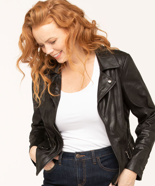 Faux Suede Textured Moto Jacket, Black, hi-res