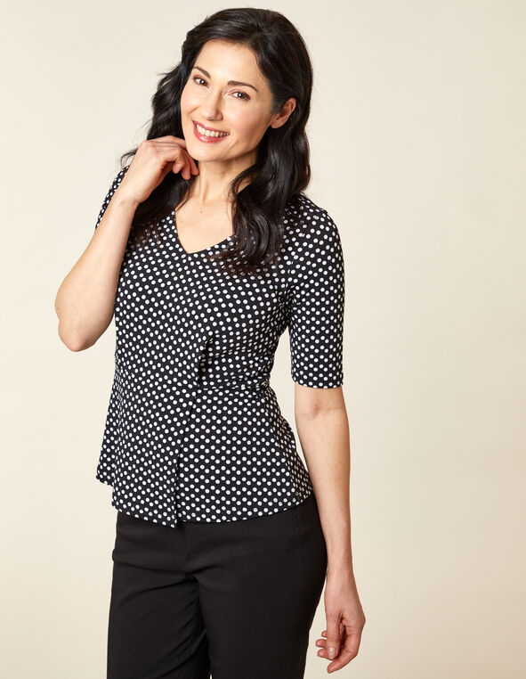 Black Polka Dot Peplum Top, Black/White, hi-res