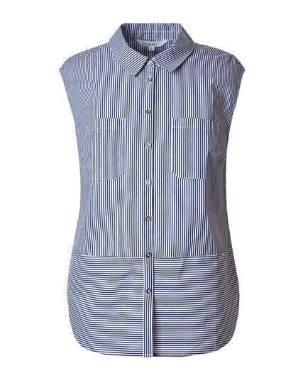 Blue Striped Cotton Button Front Blouse, Blue/White, hi-res