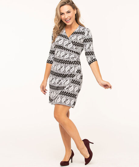 Paisley Printed Wrap Dress, Black/White, hi-res