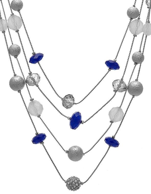 Sapphire Beaded Short Illusion Necklace, Blue, hi-res