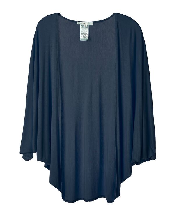 Navy Bubble Sleeve Cardigan Top, Navy, hi-res
