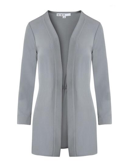 Light Grey Draped Blazer, Light Grey, hi-res