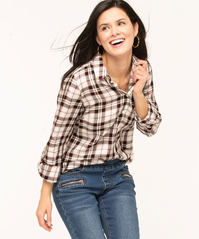 Ivory Plaid Button Front Blouse, Ivory/Black/Wine, hi-res