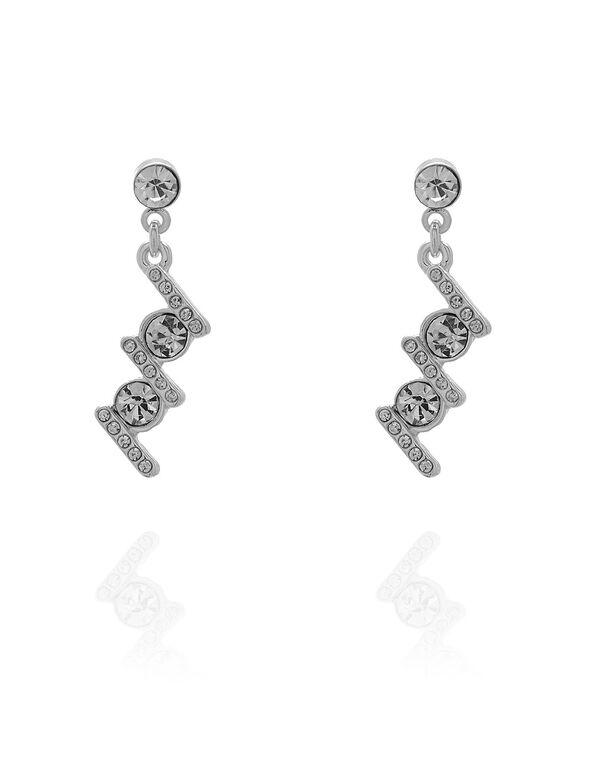 Silver Art Deco Drop Earring, Silver, hi-res