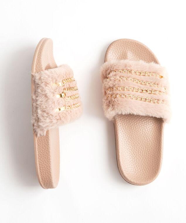 Faux Fur Chain Slipper, Camel