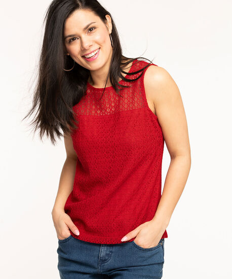 Sleeveless Lace Overlay Top, Red, hi-res