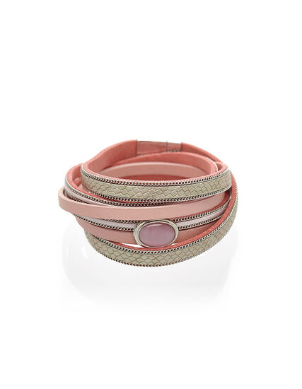 Pink Cat Eye Wrap Bracelet, Pink, hi-res