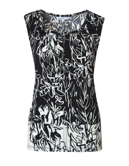 Black & Ivory Floral Sketch Top, Black, hi-res