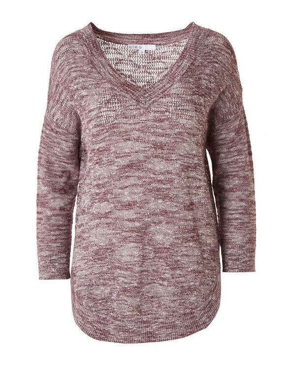 Wine Slub Pullover Sweater, Wine, hi-res