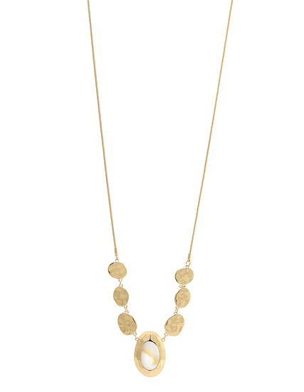 Gold Oval Pendant Long Necklace, Gold, hi-res