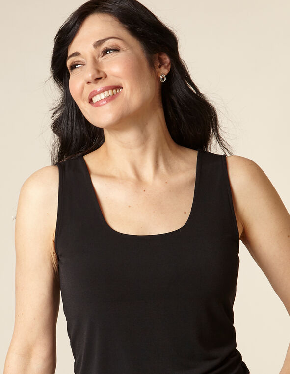 Black Essential Scoop Layering Tank, Black, hi-res