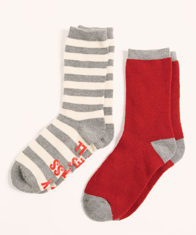 Super Soft Glass Full Sock 2-Pack, Grey/Red, hi-res