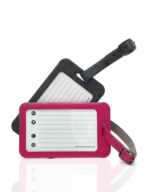 Luggage Tag Set, Black/Pink, hi-res