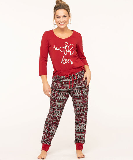 Fair Isle Jogger Pajama Set, Red/Black/White, hi-res