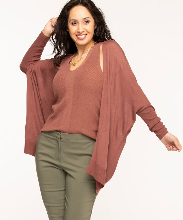 Long Open Front Cardigan, Rose