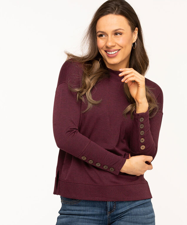 French Terry Mock Neck Top, Wine Mix