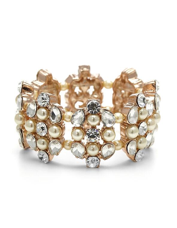 Pearl Crystal Stretch Bracelet, Pearl, hi-res