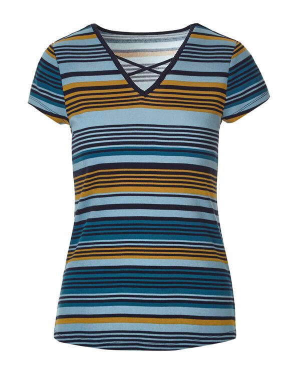 Navy Stripe Criss Cross Tee, Navy/Saffron/Blue Cloud, hi-res