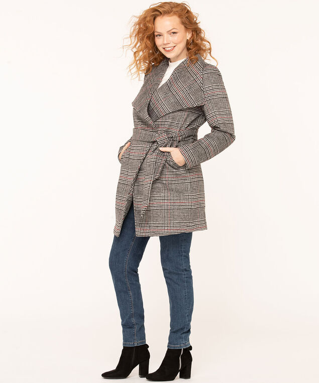 Glen Plaid Wrap Coat, Black/Ivory/Mulberry