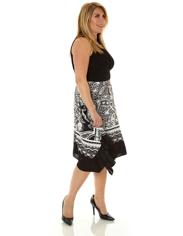 Black Scarf Printed Fit & Flare Dress, Black/White, hi-res