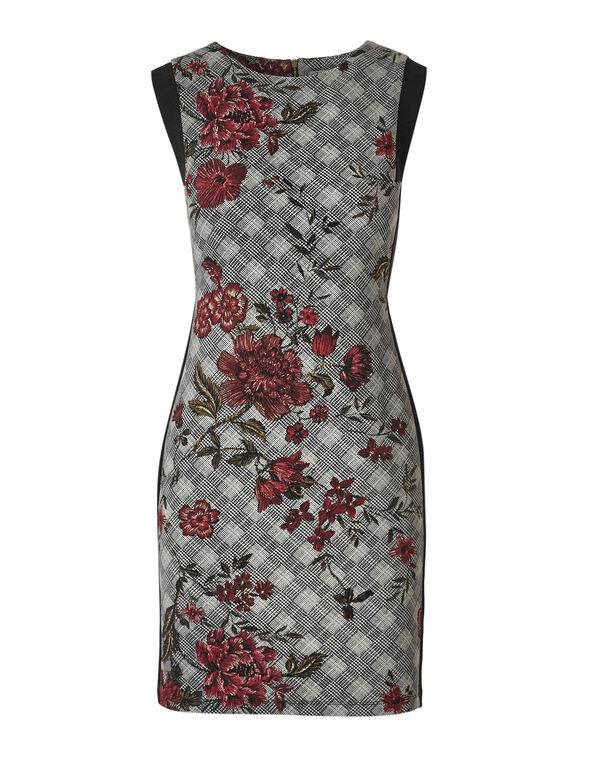 Plaid Floral Sheath Dress, Black/White, hi-res