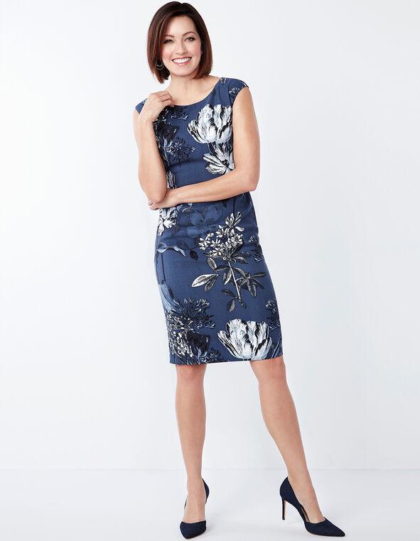 Denim Floral Sheath Dress, Denim, hi-res