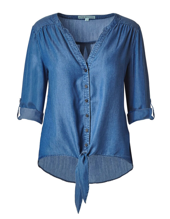 Chambray Tie Front Tencel Blouse, Chambray, hi-res