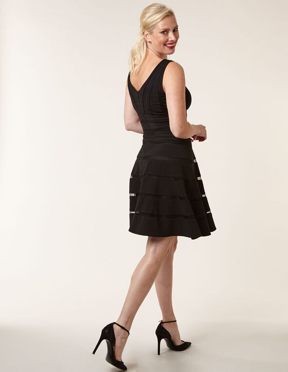 Black Ottoman Fit & Flare Dress, Black, hi-res