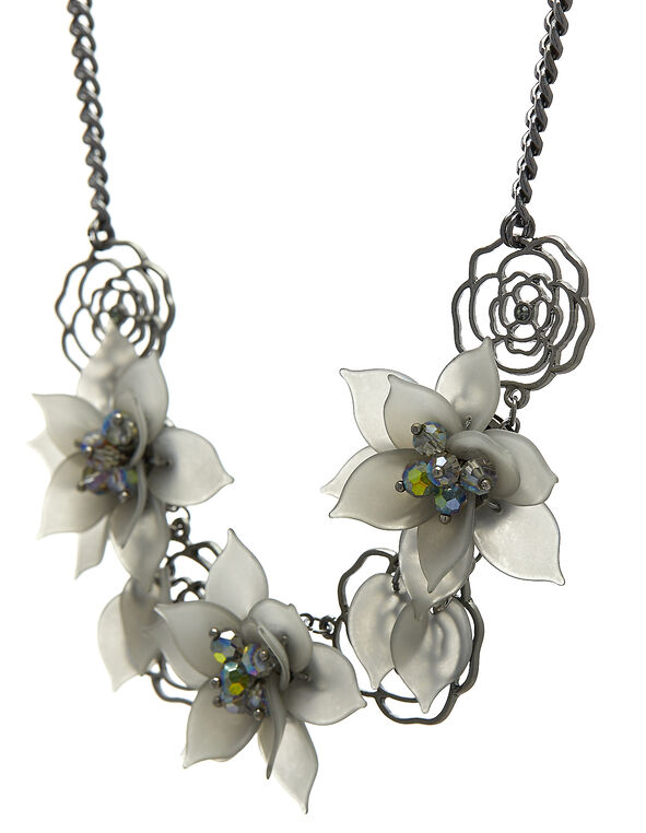 Grey Floral Chain Short Necklace, Grey/Hemi, hi-res