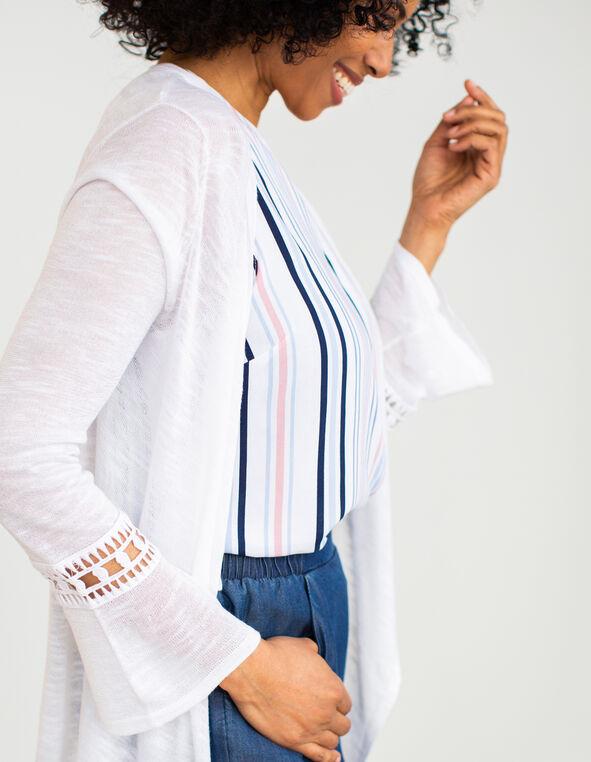 White Crochet Sleeve Cardigan, White, hi-res