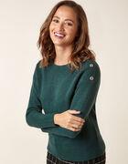 Emerald Button Detail Sweater, Green, hi-res