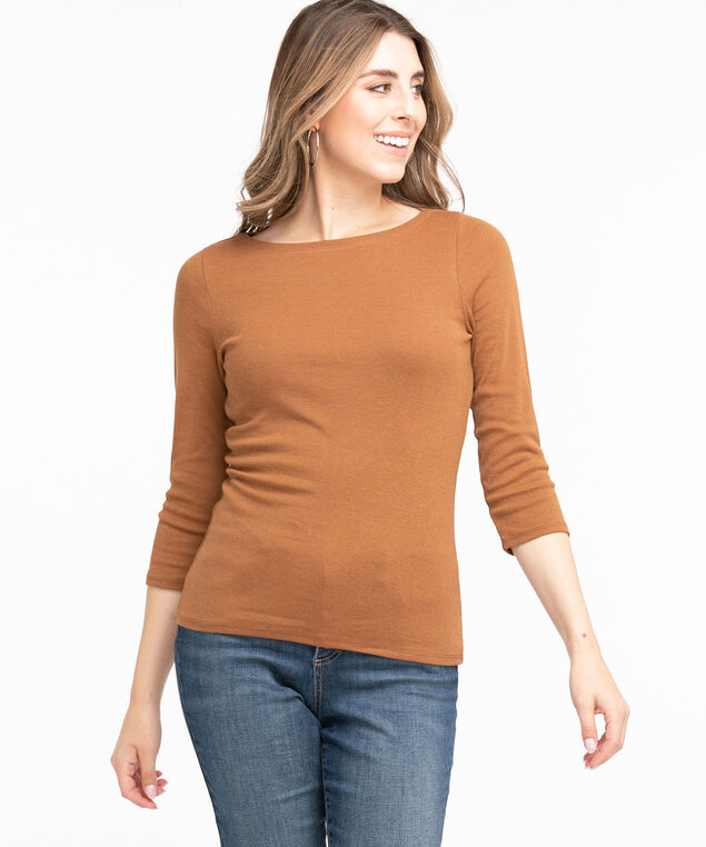 Cotton 3/4 Sleeve Boat Neck Tee, Cider Mix