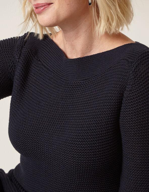Navy Ottoman Stitch Sweater, Navy, hi-res