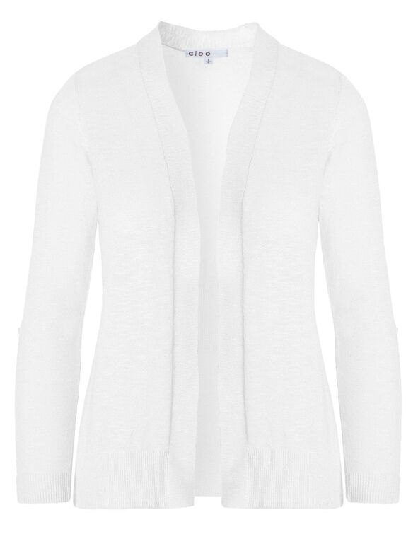 White Slub Roll Sleeve Cardigan, White, hi-res