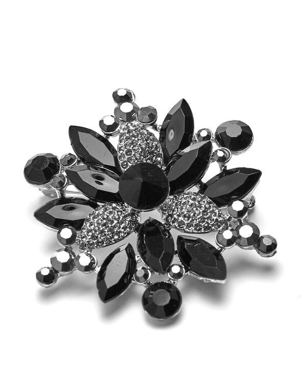 Black Winter Flower Pin, Black, hi-res